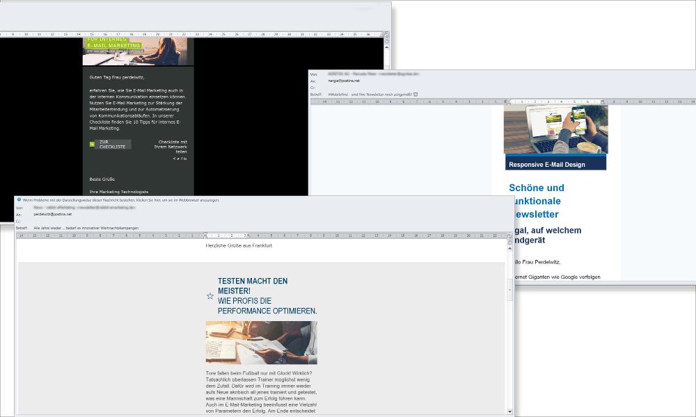 Selbst viele große (und gute) ESP-Anbieter haben ihre Newsletter nicht für hochauflösende Full HD++-IPS-Displays wie hier beim Lenovo Think Pad T550 optimiert. Allerdings sind solche Bildschirme nicht sehr verbreitet. Die hochauflösenden Retina-Bildschirme von Apple justieren die Bilder automatisch, stellen diese aber unscharf dar.
