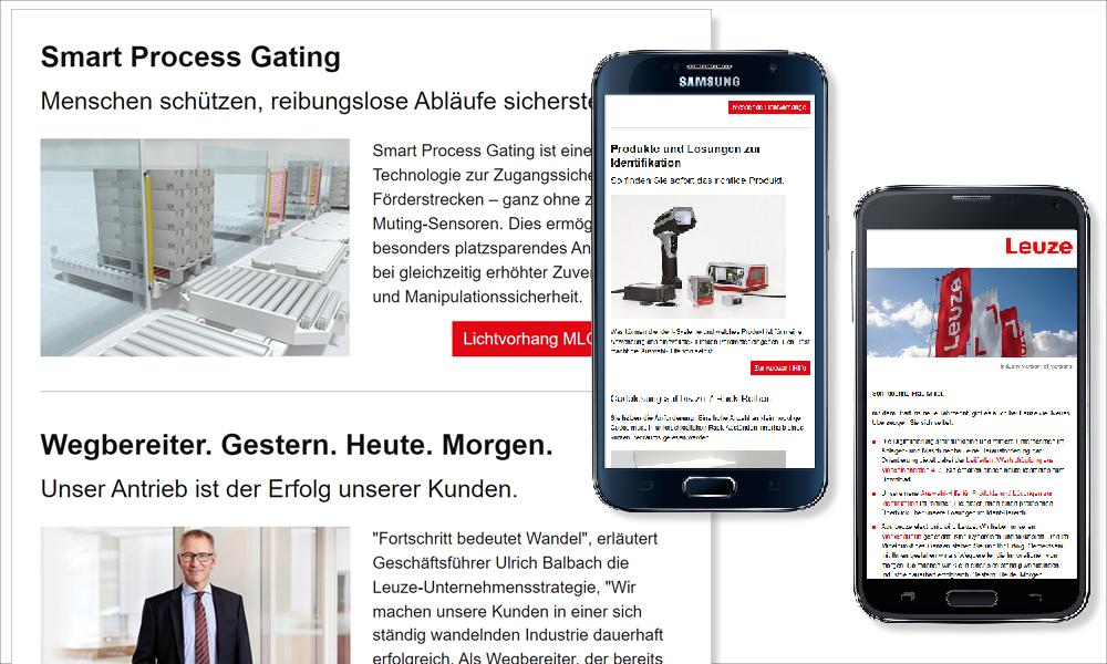 Die mobile Variante wird nicht nur auf dem iPhone sondern auch auf Android-Geräten wie dem Samsung dargestellt. Das Mailing füllt auch größere mobile Bildschirme zu 100% aus.