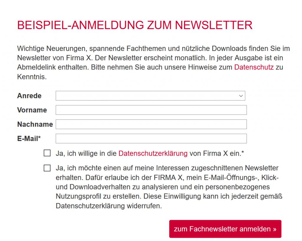Rechtskonforme Anmeldung zum Newsletter