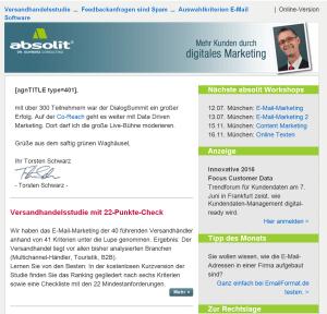 Nachher: Absolit-Newsletter abgerufen mit einem Full HD++-IPS-Display des Lenovo Think Pad T550